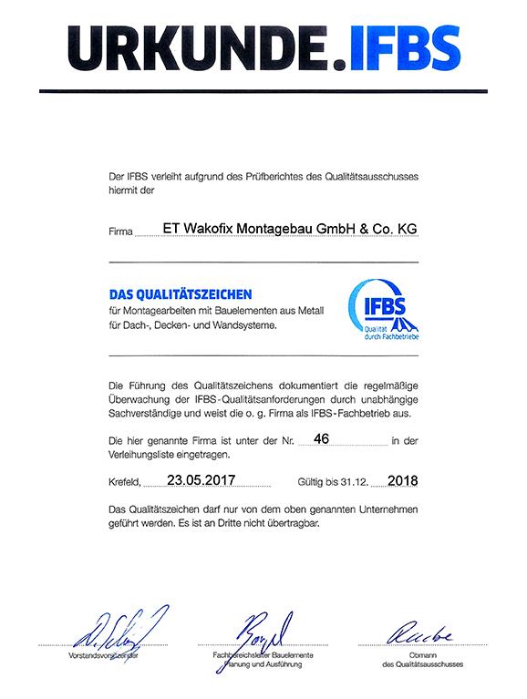 IFBS Zertifikat 2017
